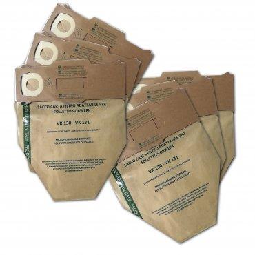 Sacchetti ecologici made in Italy - 6 pezzi - per Folletto vk130-vk131